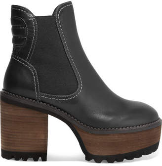 See by Chloe Erika Leather Platform Ankle Boots - Black