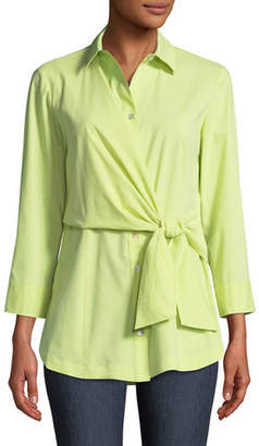 Raleigh Finley Side-Tie Poplin Blouse