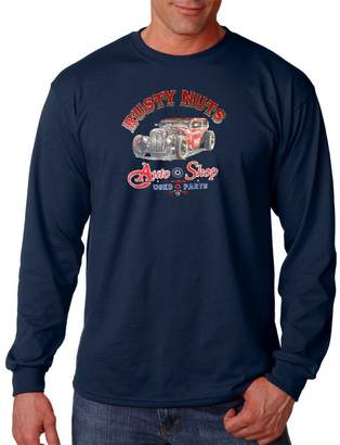 Rusty Lucky Ride Nuts Mens Thermal Long Sleeve T-shirt Auto Shop Used Parts Classic Cars Tee