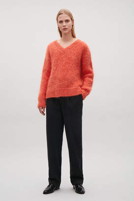 Cos V-NECK MOHAIR WOOL JUMPER