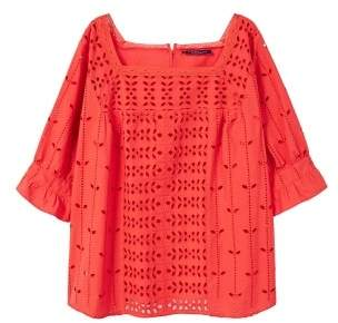 Violeta BY MANGO Openwork cotton blouse