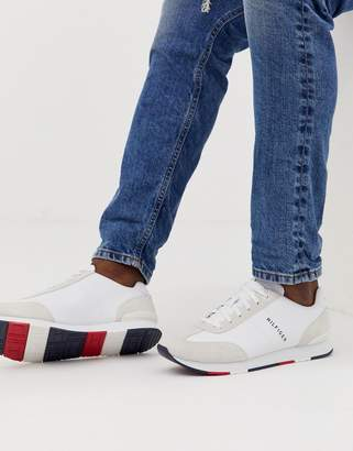 a6047dfcfa Tommy Hilfiger leather material mix logo sneaker in white
