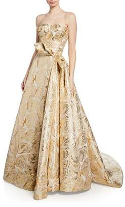 Zac Posen Butterfly-Jacquard Strapless Gown