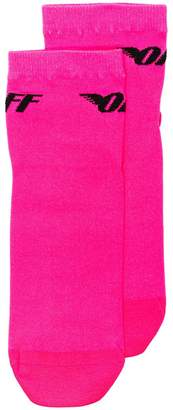 Off-White pink Neon Wings stretch logo socks