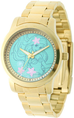 DISNEY Disney Ariel Womens Gold-Tone Stainless Steel Bracelet Watch $69.99 thestylecure.com