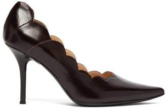 Chloé Lauren Scallop Edge Leather Pumps - Womens - Burgundy