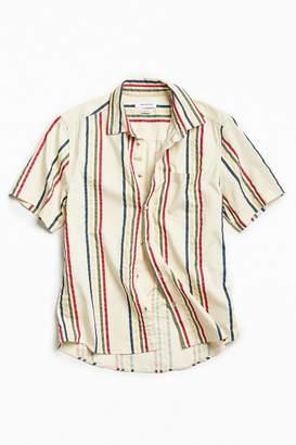 Urban Outfitters '90s Vertical Stripe Short Sleeve Button-Down Shirt