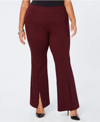 INC International Concepts I.N.C. Plus Size Ponté-Knit Slit-Front Pants, Created for Macy's