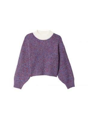 Tibi Tweedy Wool Sweater Cropped Crewneck
