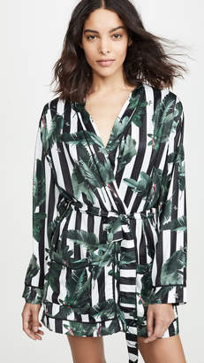 Plush Black Stripe Jungle Print Robe