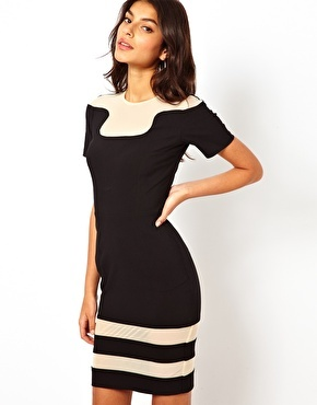 Hybrid Dress With Mesh Inserts - Black/nude mesh