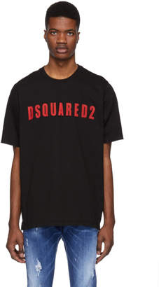 DSQUARED2 Black Logo Slouch Fit T-Shirt