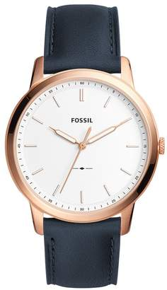 Fossil Men's 'Minimalist' Quartz Stainless Steel and Leather Casual Watch, Color: (Model: FS5371)