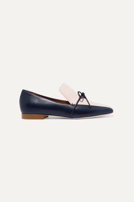 Malone Souliers Roksanda Celia Bow-detailed Two-tone Leather Loafers - Navy