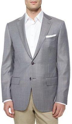 Ermenegildo Zegna Micro-Check Two-Button Jacket, Tan/Blue $2,095 thestylecure.com