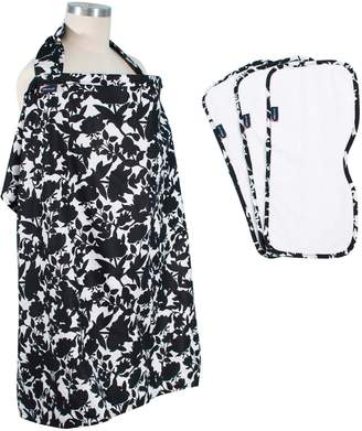 Bebe Au Lait Gingko Print Cover & 3-Pack Burp Cloths