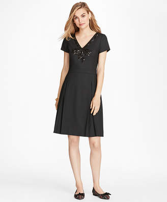 Brooks Brothers Sequined Bow Applique Wool-Blend Twill Dress