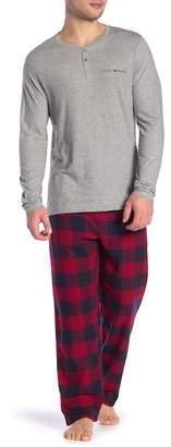 Lucky Brand Long Sleeve Henley & Flannel Pants Pajama Set