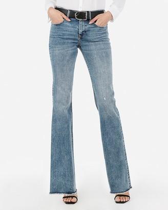 Express Mid Rise Denim Perfect Raw Hem Flare Jeans