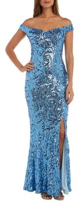 Morgan & Co. Convertible Neckline Sequin Swirl Trumpet Gown