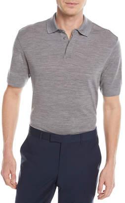 Z Zegna Heathered Wool Polo Shirt