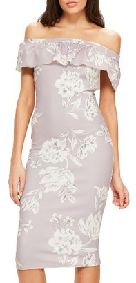 Women's Missguided Bardot Off The Shoulder Midi Dress $82 thestylecure.com