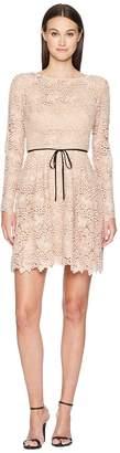 ML Monique Lhuillier Long Sleeve Tie Waist Lace Dress