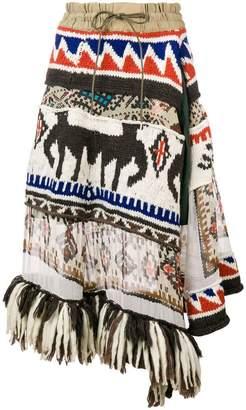 Sacai fringed asymmetric skirt