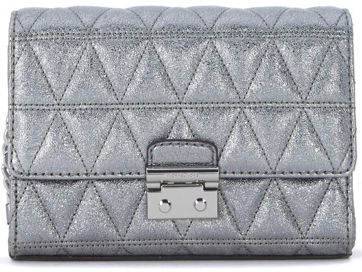 Michael Kors Ruby Silver Quiltd Leather Clutch With Shoulder Strap - ARGENTO - STYLE