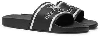 Dolce & Gabbana Logo-Print Leather Slides
