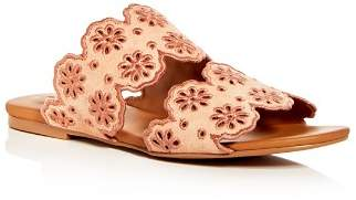 See by Chloe Women's Floral Eyelet Suede Slide Sandals