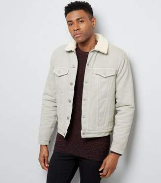 New Look Off White Borg Lined Denim Jacket