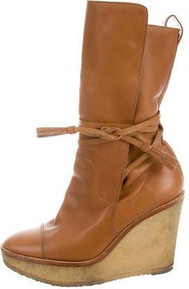 Saint LaurentYves Saint Laurent Leather Wedge Boots