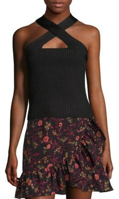 Scripted Metallic Crossover Rib-Knit Top $125 thestylecure.com