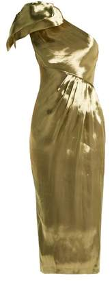 Maria Lucia Hohan Alya One Shoulder Silk Dress - Womens - Gold