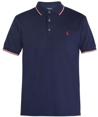 Polo Ralph Lauren Logo Embroidered Stretch Cotton Pique Polo Shirt - Mens - Navy