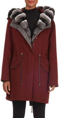 Fabio Gavazzi Hooded Wool-Cashmere Parka Jacket w/ Detachable Vest & Chinchilla Trim