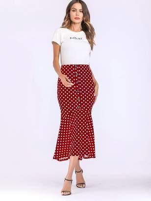 Shein Polka Dot Print Button Front Fishtail Hem Skirt