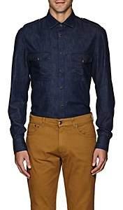 Eidos Men's Cotton Chambray Western Shirt-Navy
