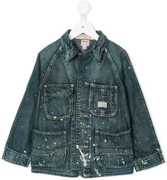 Denim Dungaree paint splatter denim jacket