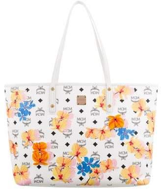 MCM Floral Visetos Essential Top Zip Shopper