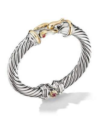 David Yurman 9mm Cable Buckle Bracelet w/ Garnet & 18k Gold