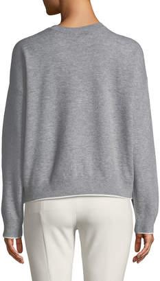Vince Double-Layer Cashmere Cotton Crewneck Pullover Sweatshirt