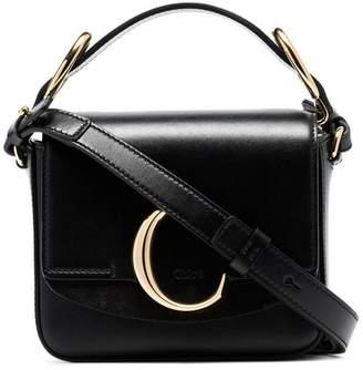 Chloé black C ring top-handle leather shoulder bag