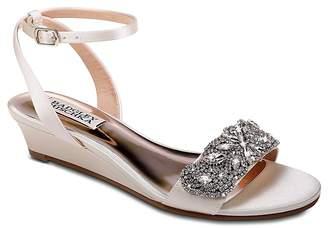 Badgley Mischka Women's Hatch Embellished Satin Demi Wedge Sandals