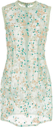 J. Mendel Embroidered Organza Sleeveless Mini Dress
