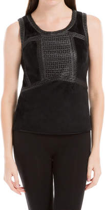 Max Studio stretch velvet top with laser cut leatherette