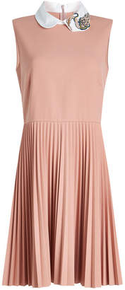 RED Valentino Sleeveless Dress with Pleated Skirt