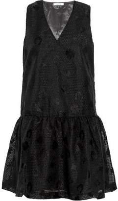 Ganni Embroidered Organza Mini Dress