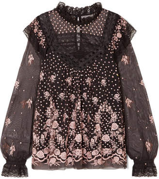Needle & Thread Eclipse Lace-trimmed Embroidered Tulle Blouse - Charcoal